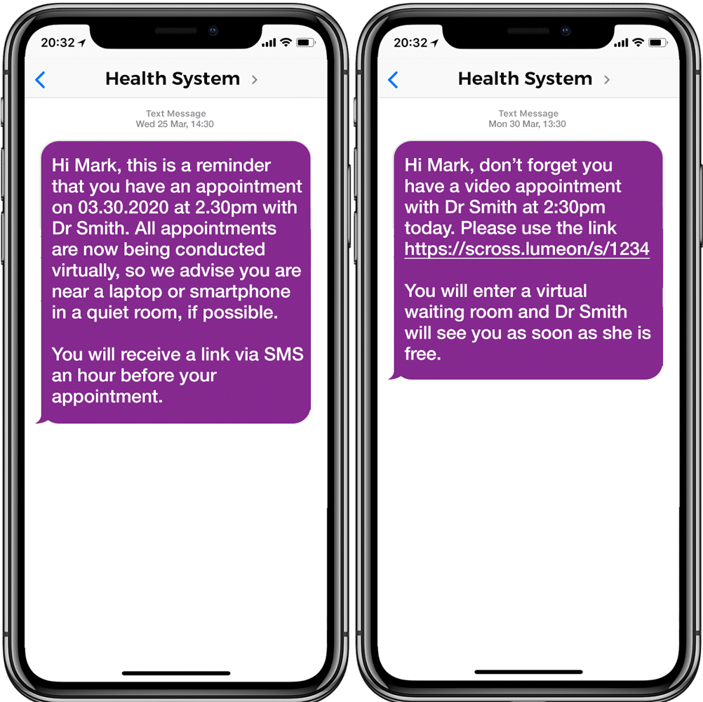 A mobile phone showing an appointment reminder with a link to virtual consultation