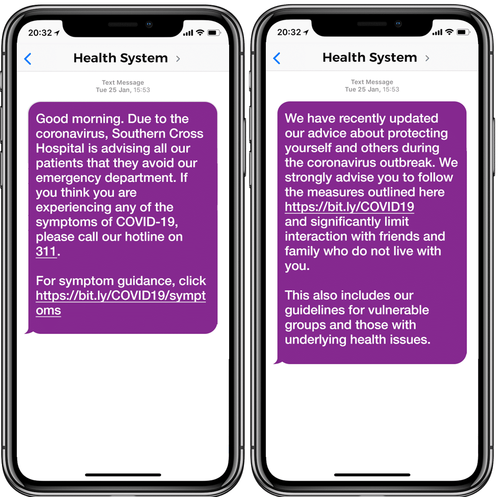 A mobile phone showing a COVID-19 patient outreach campaign