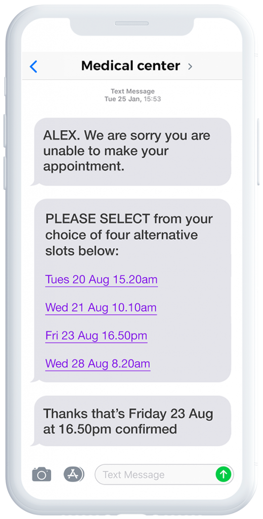 mobile showing appointment reminder