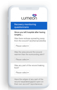 mobile showing recovery monitoring questionnaire