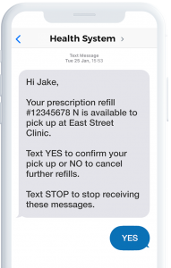 A mobile phone showing an RX refill reminder
