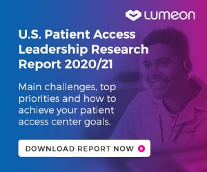 An-advert-for-Lumeon's-Patient-Access-Leadership-Report