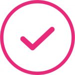 pink tick icon