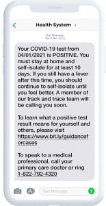 A text message showing a positive Covid-19 test result message to a patient