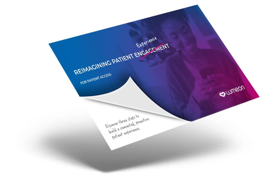 A thumbnail image of the Lumeon brochure reimagining the patient experience for patient access leaders