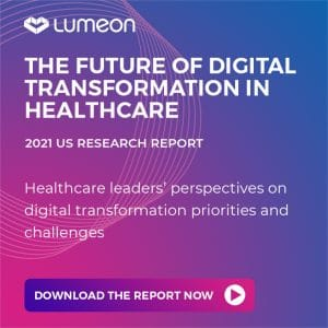A banner showing the future of digital transformation in healthcare report